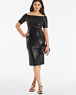 Black Sequin Bardot Dress