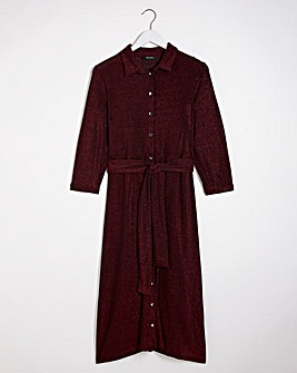 Burgundy Glitter Knit Maxi Shirt Dress
