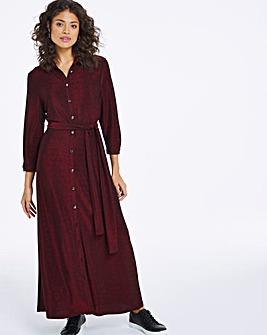 Burgundy Glitter Knit Maxi Shirt Dress