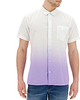Short Sleeve Dip Dye Linen Shirt R