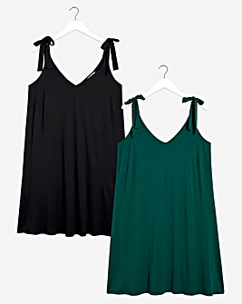 2 Pack Green/Black Tie Shoulder Swing Dresses