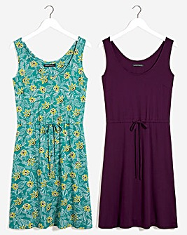 2 Pack Knee Length Teal Print/Plum Knee Length Vest Dresses