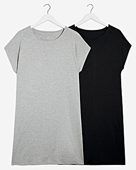 2 Pack Grey/Black T-Shirt Dresses