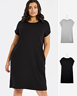 2 Pack Grey/Black T-Shirt Dresses