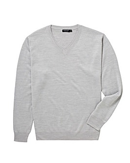 Light Grey V-Neck Jumper