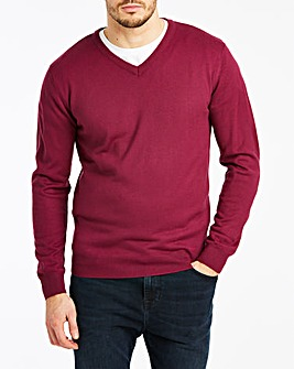 Magenta V-Neck Jumper