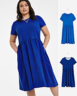 2 Pack Navy Animal/Blue Short Sleeve Smock Midi Dresses