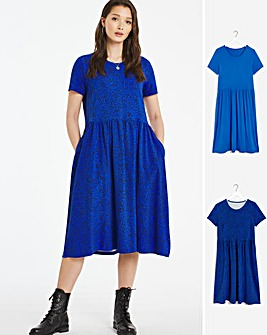2 Pack Animal/Blue Smock Midi Dresses