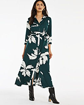 Green Floral Maxi Shirt Dress