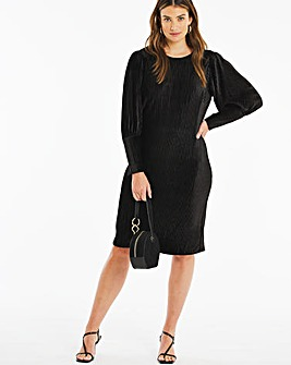 Black Balloon Sleeve Velour Shift Dress