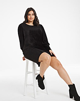 Black Balloon Sleeve Velour Dress
