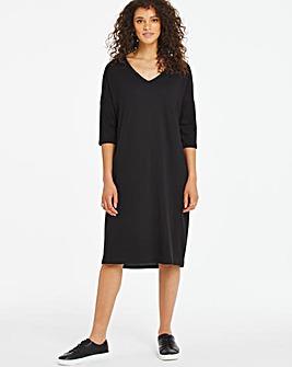 Soft Touch Loose V Neck Dress with pockets