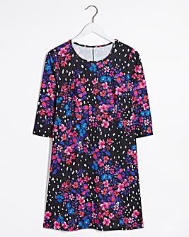 Black Floral 3/4 Sleeve Swing Dress