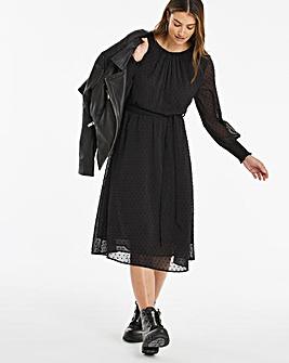 Black Dobby Spot Midi Dress