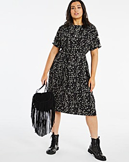 Animal Print Button Shoulder Shift Dress With Belt