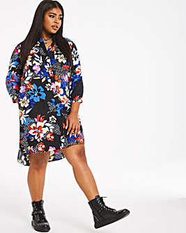 Dark Floral Print Pocket Shirt Dress