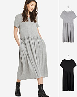 2 Pack Black/Grey Marl Short Sleeve Smock Midi Dresses