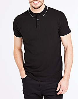 Black Stretch Tipped Polo Long