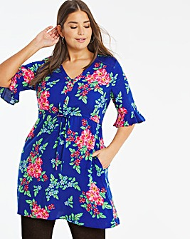 Blue Floral Print Tie Waist Tea Dress