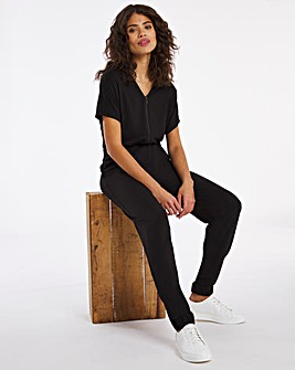 Elasticated Waist Cuffed Leg Soft Touch Zip Front Jumpsuit.