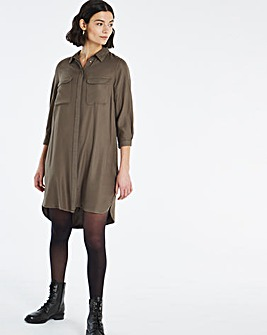 Dark Khaki Pocket Shirt Dress