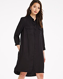 Black Pocket Shirt Dress