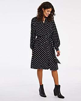 Mono Spot Tie Waist Shift Dress