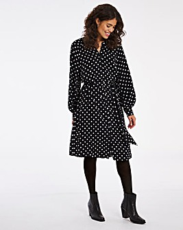 Mono Spot Tie Waist Shift Dress