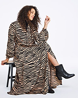Zebra Print Button Front Maxi Dress