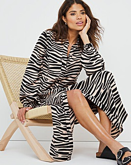 Zebra Print Button Front Maxi Dress