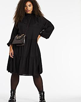 Black Long Sleeved Tiered Smock Dress