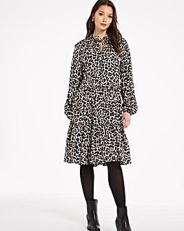 Animal Print Long Sleeved Tiered Smock Dress