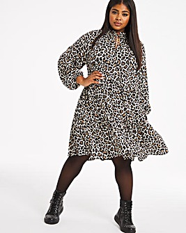 Animal Print Long Sleeved Tiered Smock Dress
