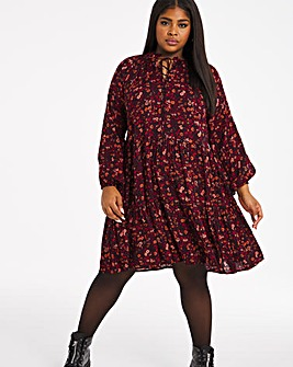 Pink Ditsy Floral Print Long Sleeved Tiered Smock Dress