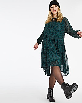 Teal Animal Tiered Tie Neck Midi Dress