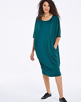 Green Pocket Cocoon Jersey Dress