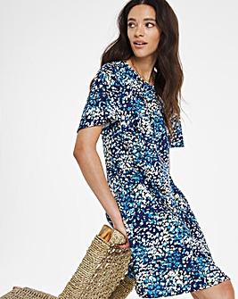 Blue Print Short Sleeve Swing Dress