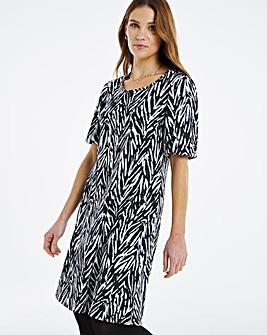 Mono Print Puff Sleeve Swing Dress