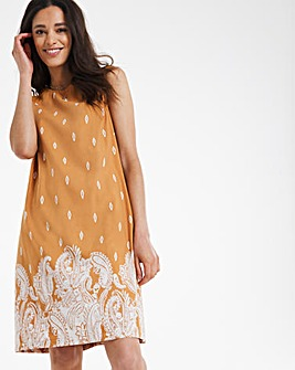 Print Crochet Shoulder Linen Shift Dress