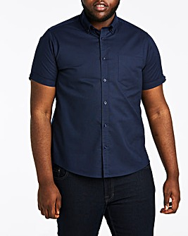 Navy S/S Stretch Oxford Shirt