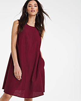 Claret Linen A-Line Swing Dress