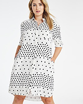 Spot Print Puff Sleeve Shirt Dress