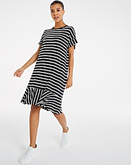 Striped Frill Hem T-Shirt Dress