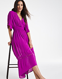 Orchid Hi-Lo Crinkle Ladder Insert Dress