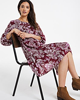 Paisley Square Neck Crinkle Smock Dress