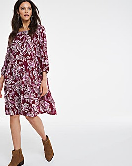 Square Neck Crinkle Smock Dress