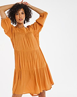 Mustard Square Neck Crinkle Smock Dress
