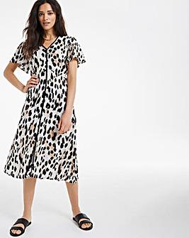 Lace Trim Button Through Crinkle Dress