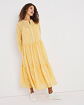 Yellow Animal Print Sheer Tiered Midi Dress