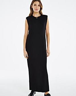 Black Shoulder Pad Midaxi Dress
